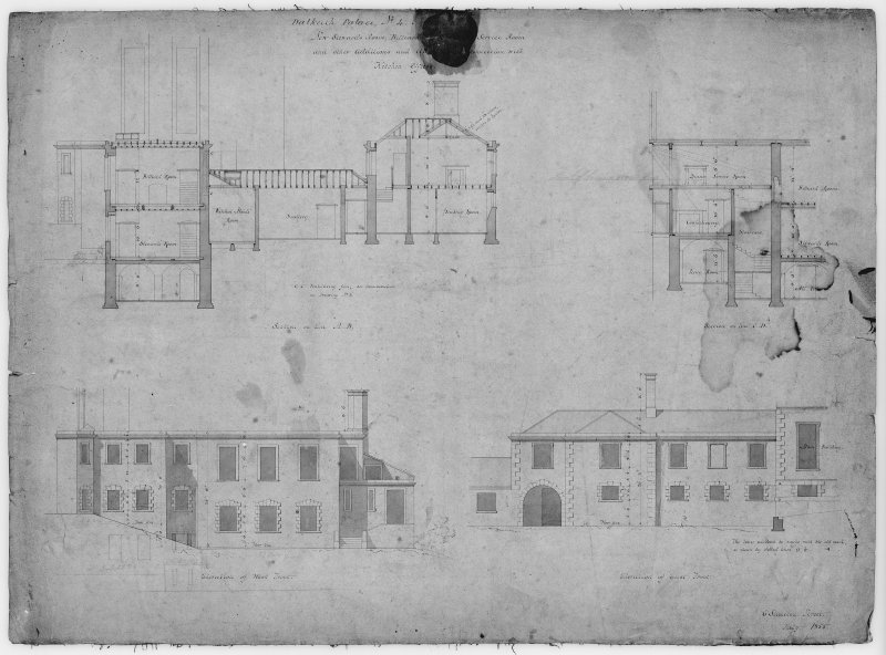 Photographic copy of drawing showing sections and elevations of additions and alterations to kichen offices.
