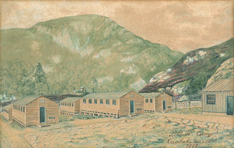 Watercolour depiction of Caolasnacon Prisoner of War Camp.