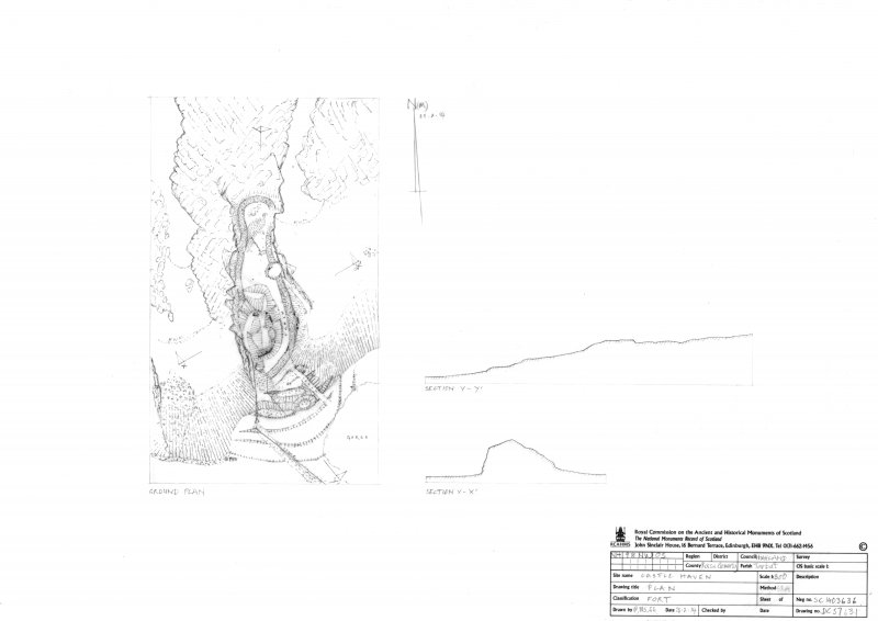 Castlehaven, fort, measured survey drawing, plan & sections