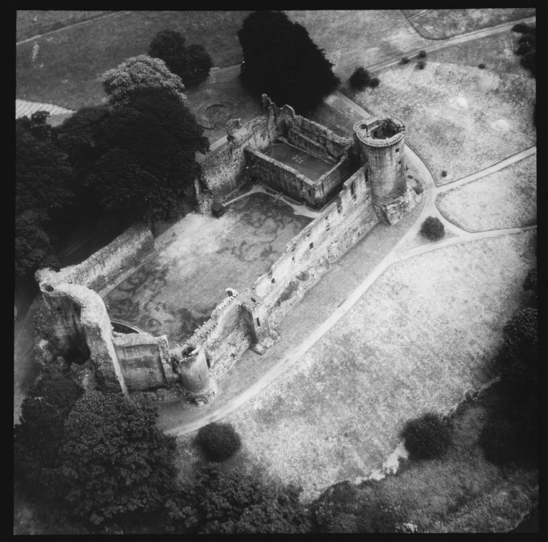 Aerial view of castle.