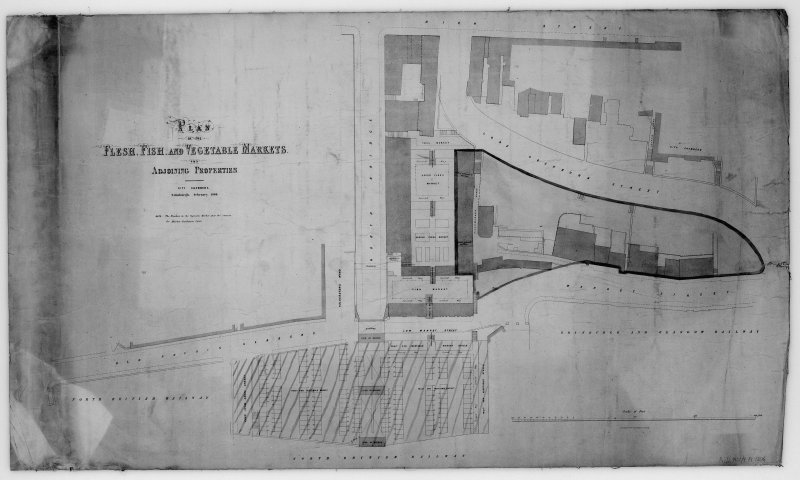 "Plan of Flesh, Fish and Fruit and Vegetable Markets, in Market Street, Waverley Markets with Cockburn Street and North Bridge also shown.  Lithograph, scale 1"" : 30'. Original dated ""Feb 1860"""