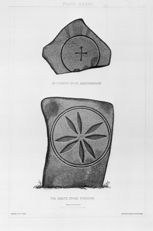 Cross-incised stone at Dunecht House and the Skeith Stone.  From J Stuart, The Sculptured Stones of Scotland, vol.ii, pl.cxxiv. Filed under NJ70NE 9.