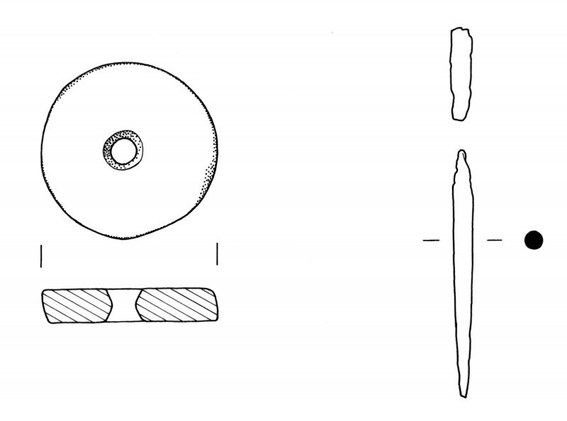 Scanned copy of drawings of spindle whorl and bronze pin fragment from Craig Phadrig. In MS7261/1
