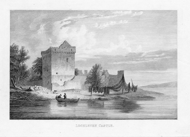 View of Lochleven Castle showing fishermen with nets drying.