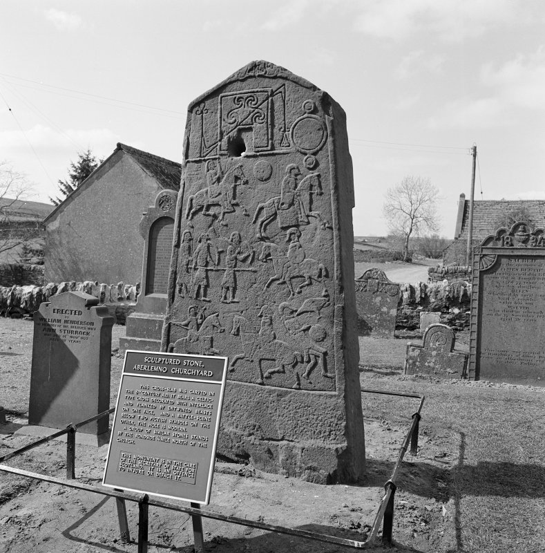View of reverse of Aberlemno no 2 Pictish cross slab, Aberlemno Churchyard.