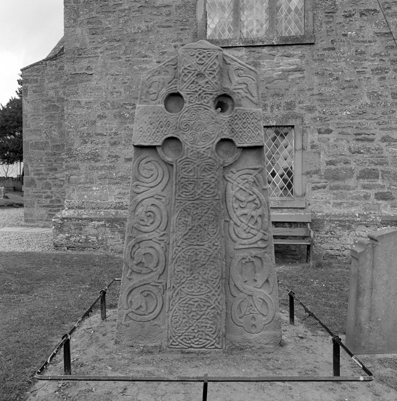 View of face of Aberlemno no 2 Pictish cross slab, Aberlemno Churchyard.