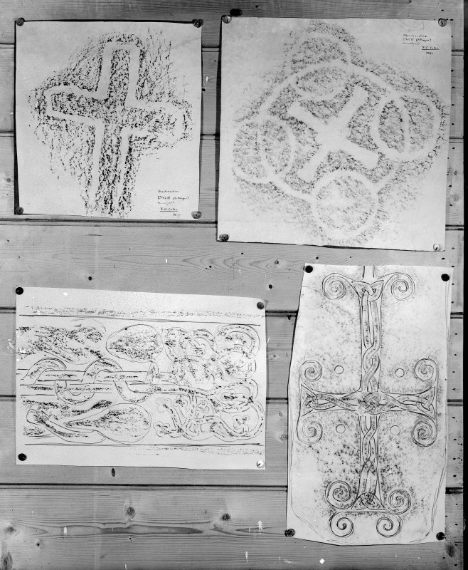Photographic copy of four rubbings. The upper two rubbings show detail of two cross incised stones, Dyce no.3 [left] and Dyce no.2 [right] from Dyce, Aberdeen. The lower two rubbings are yet to be identified.