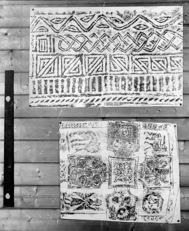 Photographic copy of two rubbings. The upper rubbing is yet to be identified. The lower rubbing shows detail from the face of Dunfallandy Pictish cross slab.