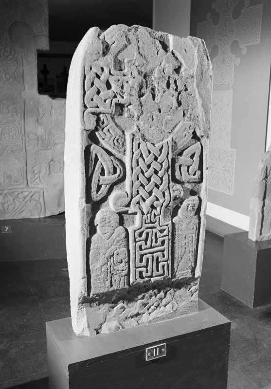 View of face of St Vigeans no. 11 cross slab on display in St Vigeans Museum.