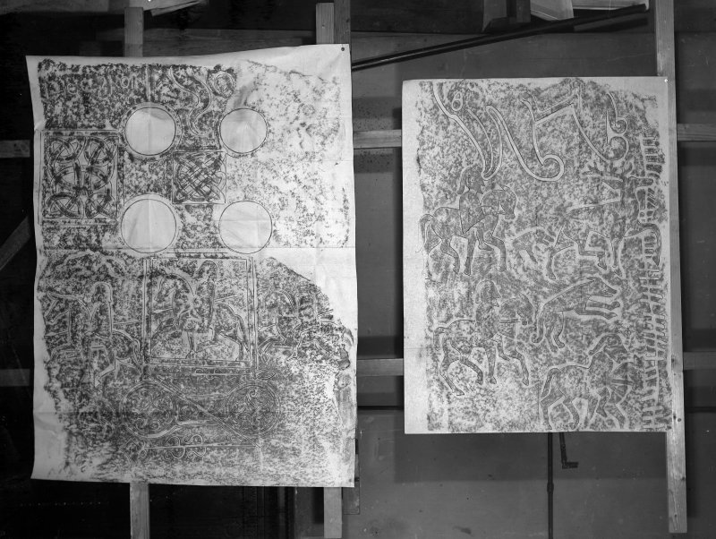 Photographic copy of two rubbings. The right rubbing shows detail of a Pictish cross slab, containing figures and an Ogam inscription. originally from Scoonie Churchyard, now held at the National Museums of Scotland. The left rubbing shows detail of the Fourdon Stone Pictish cross slab.