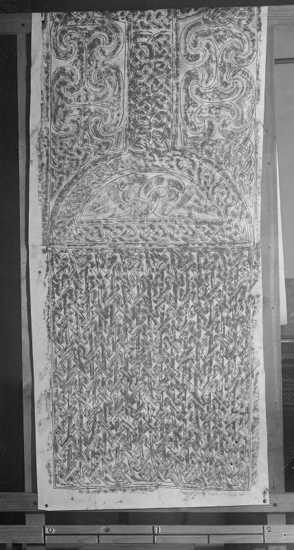 Photographic copy of a rubbing showing the bottom half of the face of a cross slab, from Farr Old Church, Clachan.