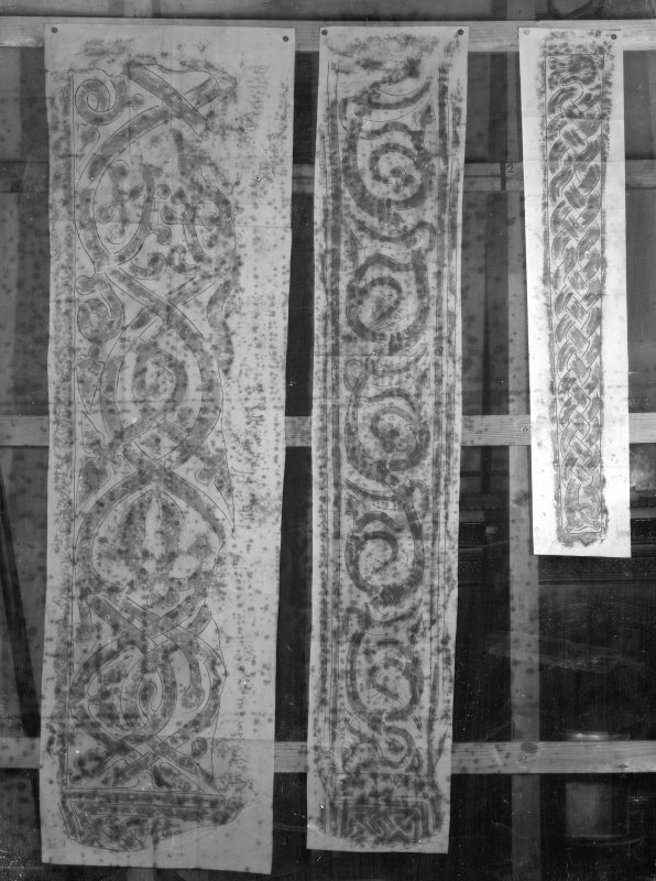 Photographic copy of three rubbings. The left rubbing is unidentified. The middle and right rubbings show detail from the left side [middle] and face [right] of Abercorn No. 2 cross slab.