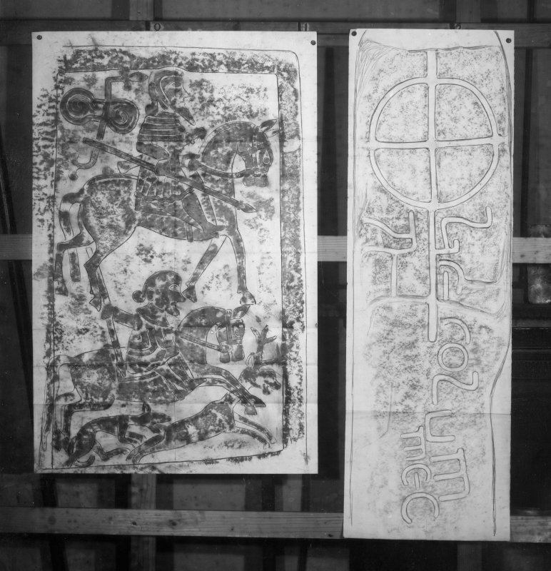 Photographic copy of two rubbings. The right rubbing is unidentified. The left rubbing shows detail from Kirriemuir no. 2 Pictish cross slab.