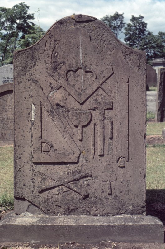 Detail of headstone dated 1780 with masons tools, Holy Rude, Stirling.