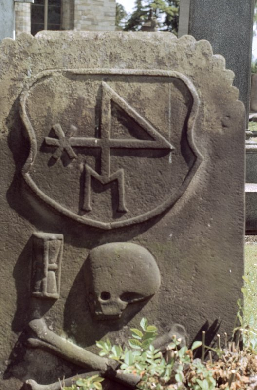View of headstone with merchant's mark, skull and crossbones, Holy Rude, Stirling.