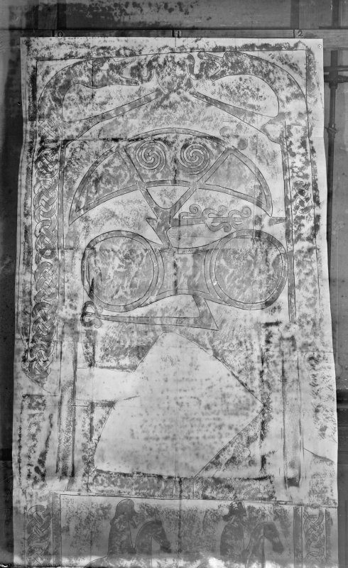Photographic copy of a rubbing showing reverse of St Orland's Stone Pictish cross slab, Cossans.