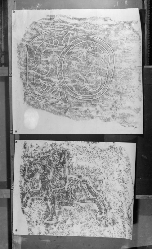 Photographic copy of two rubbings. The upper rubbing shows detail from a Pictish symbol stone, originally from Rothiebrisbane, now at St Peter's Church, Fyvie. The lower rubbing shows reverse detail from the Migvie Stone Pictish cross slab, St Finan's Church.