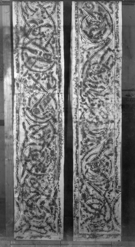 Photographic copy of two rubbings showing the upper side interlacing details from the face of the Hilton of Cadboll Pictish symbol stone, originally from Hilton of Cadboll, now in the National Museums of Scotland.