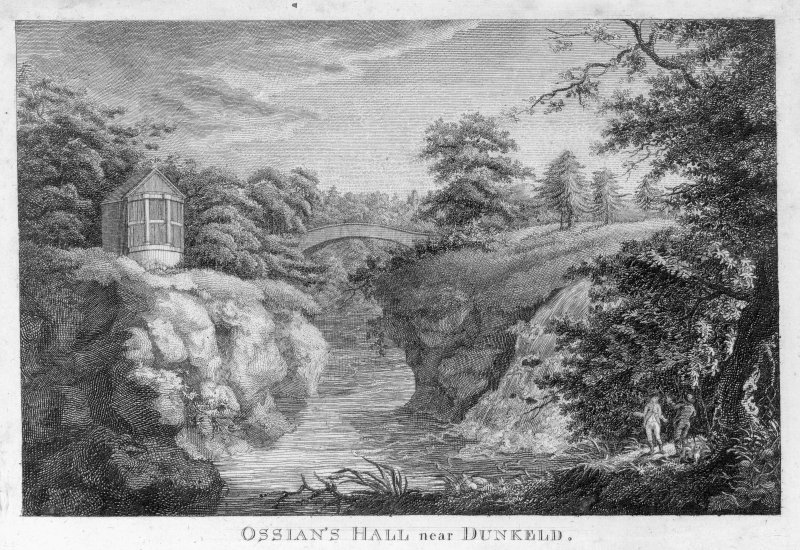 General view showing bridge, River Braan and Ossian's Hall, The Hermitage.