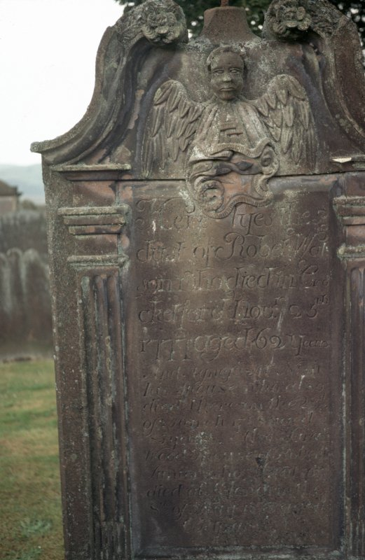 View of headstone to Robert Watt d. 1777,  Buittle Old Parish Churchyard.