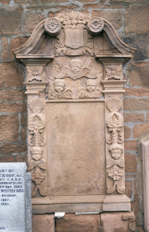 View of mural monument to Margaret Walls d. 1759, St Michael's Church, Dumfries.
