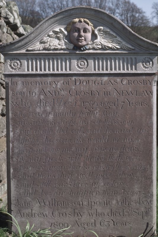 View of headstone to Douglas Crosby d. 1789 aged 7 years, Dundrennan Abbey graveyard.