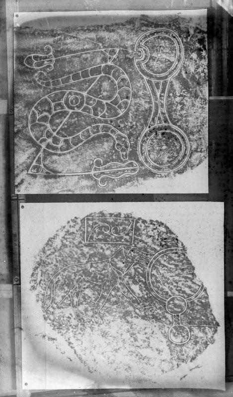 Photographic copy of two rubbings. The lower rubbing shows detail of the face of the Wolf Stone Pictish symbol stone, it originally stood at Newbigging Farm, Leslie, now stands in the garden of Leith Hall, Aberdeenshire. The upper rubbing shows detail from the face of a Pictish symbol stone, from Newton House, Aberdeenshire.