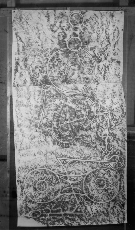 Photographic copy of rubbing showing detail of the face of the Picardy Stone Pictish symbol stone, Myreton Farm, Insch, Aberdeenshire.