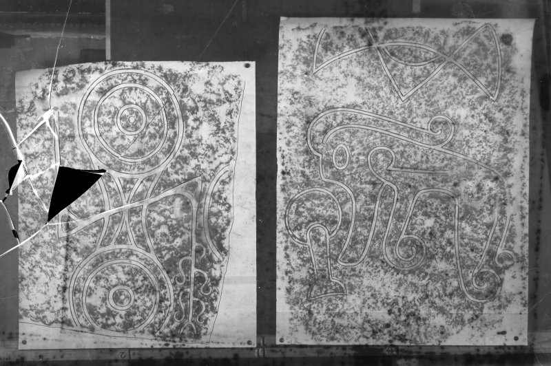 Photographic copy of two rubbings. The upper rubbing shows face detail from Fyvie no.1 Pictish symbol stone,  originally from Fyvie schoolhouse, now at St. Peter's Church, Fyvie. The lower rubbing shows detail from the face of Inverurie no 3 Pictish symbol stone, Old Inverurie Churchyard.