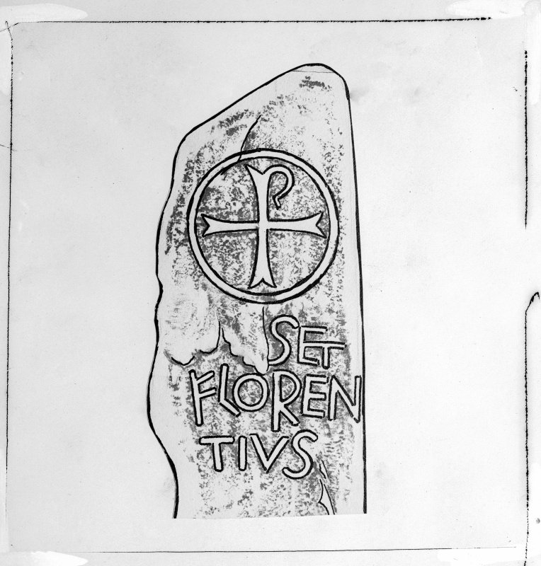Photographic copy of rubbing, with overlaid drawing, showing upper detail of face of Kirkmadrine no.2 cross-incised stone with inscription, Kirkmadrine Church.
