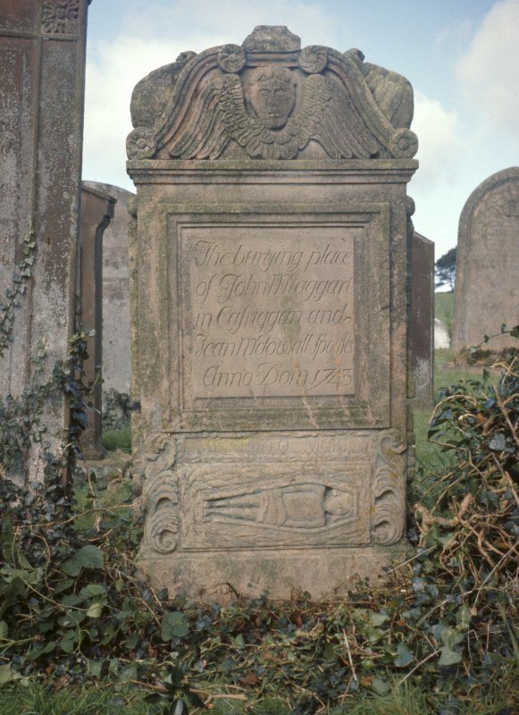 View of headstone to J. McTaggart dated 1743, Kirkcowan Parish Churchyard.