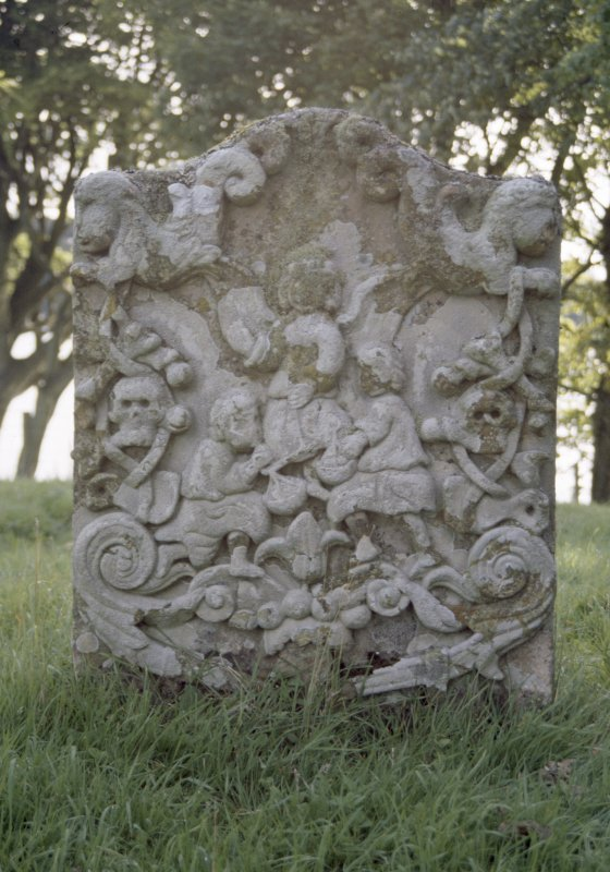 View of headstone to Robert Campbell d. 1701,  Soulseat Abbey burial ground.