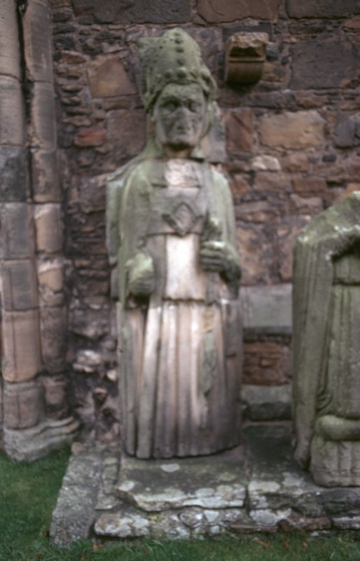 View of effigy to bishop, Elgin Cathedral.