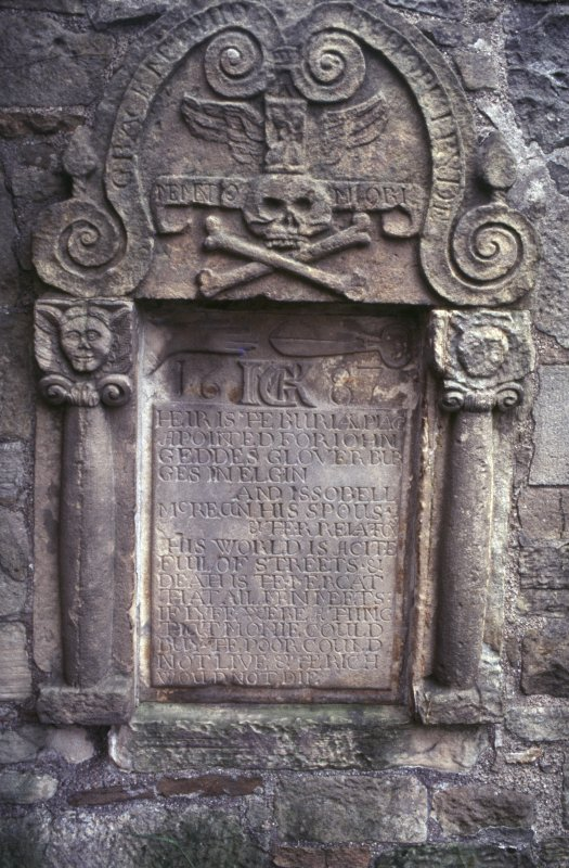 View of mural monument to John Geddes and Isobel McKean 1687, Elgin Cathedral.