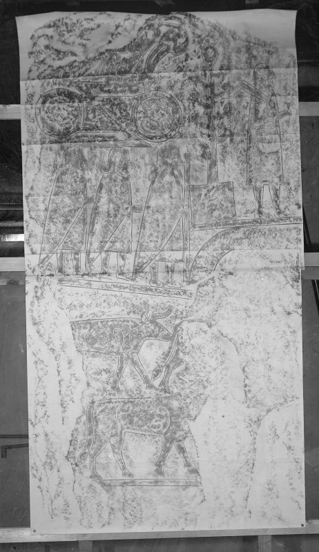 Photographic copy of rubbing showing reverse Eassie Pictish cross slab.