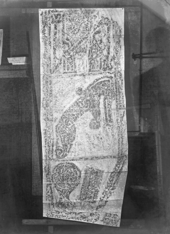 Photographic copy of rubbing showing the bottom three panels of reverse of the Maiden Stone Pictish cross slab, Chapel of Garioch.