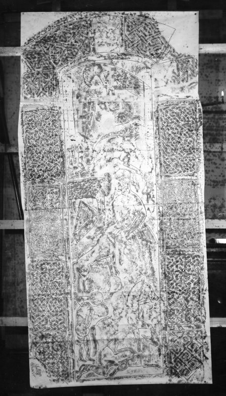 Photographic copy of rubbing showing reverse of Nigg Pictish cross slab.