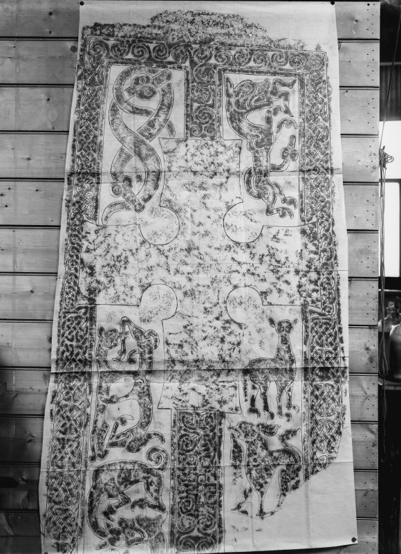 Photographic copy of rubbing showing face of Woodrae Pictish cross slab, now at National Museums of Scotland.
