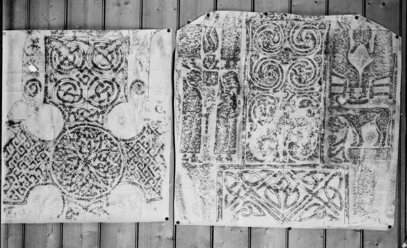 Photographic copy of two rubbings showing details from face of cross slab (St Vigeans no.7).