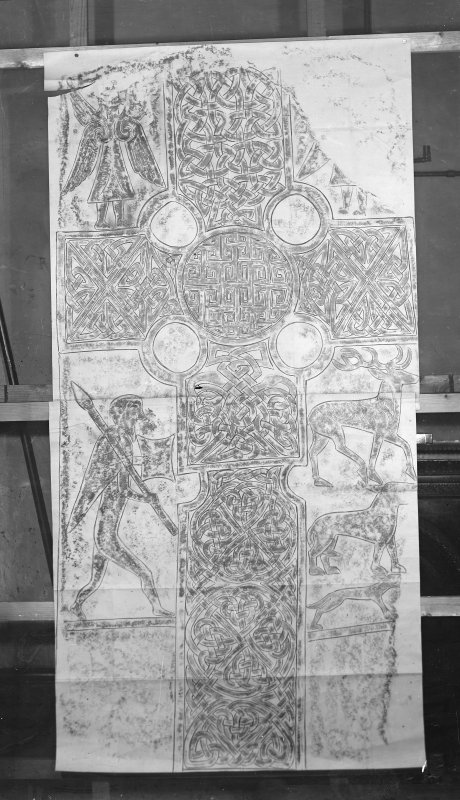 Photographic copy of rubbing showing face of Eassie Pictish cross slab.