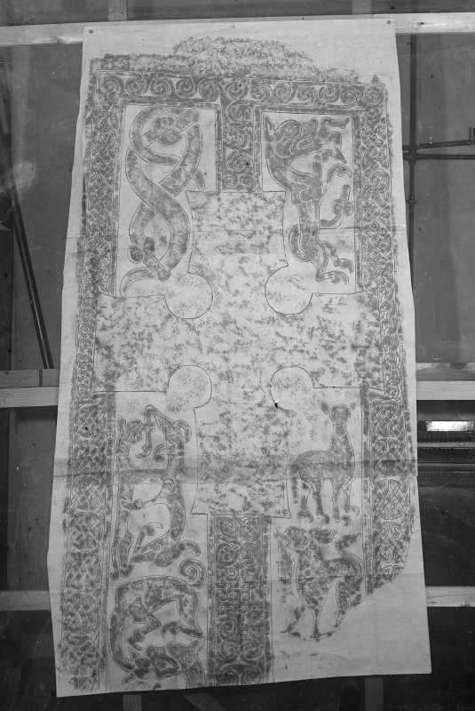 Photographic copy of rubbing showing face Pictish cross slab, originally from Woodrae Castle, Angus, now at National Museums of Scotland.