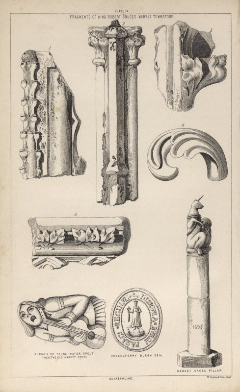 Plate ix from P Chalmers, Historical and Statistical Account of Dunfermline, showing 'Fragments of King Robert Bruce's marble tombstone', 'Gurgoil or stone water spout from the old market cross', 'Que ...