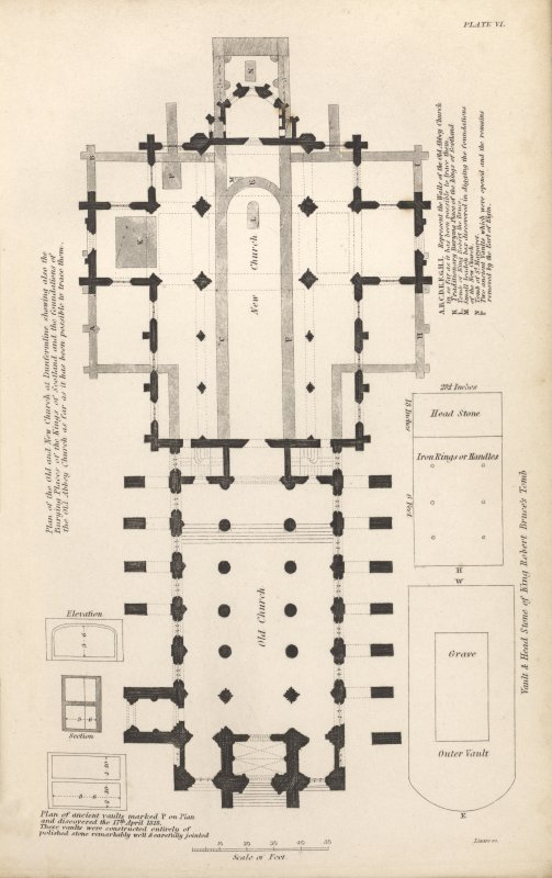 Plate vi from P Chalmers, Historical and Statistical Account of Dunfermline, showing plan of the nave of the Abbey church, the new Parish Church, and the foundations of the medieval choir. Also shown are plans and sections of vaults discovered during excavation, including that attributed to Robert the Bruce.