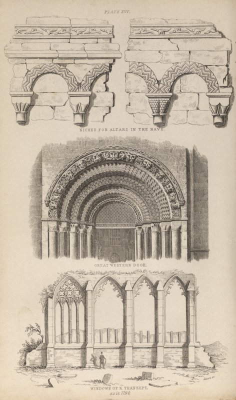 Plate xvi from P Chalmers, Historical and Statistical Account of Dunfermline, showing architectural details of the abbey, including romanesque arcading in the nave, the western door of the nave, and the windows of the north transept, as standing in 1790.