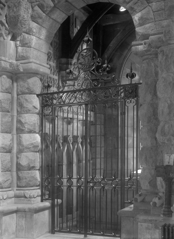 View of wrought iron screen in St Conan's Church, Lochawe.