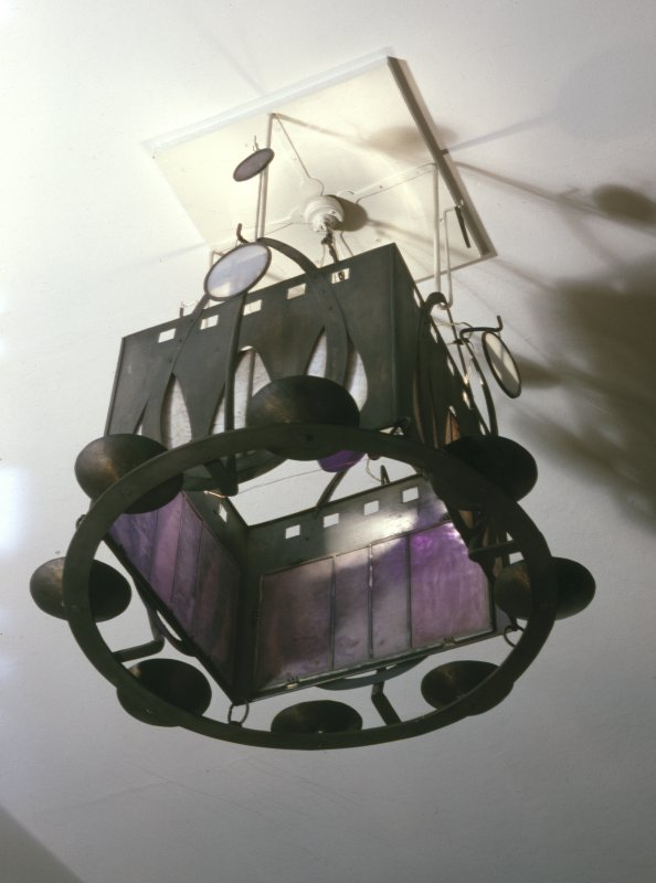 Interior view of light fitting in Glasgow School of Art.