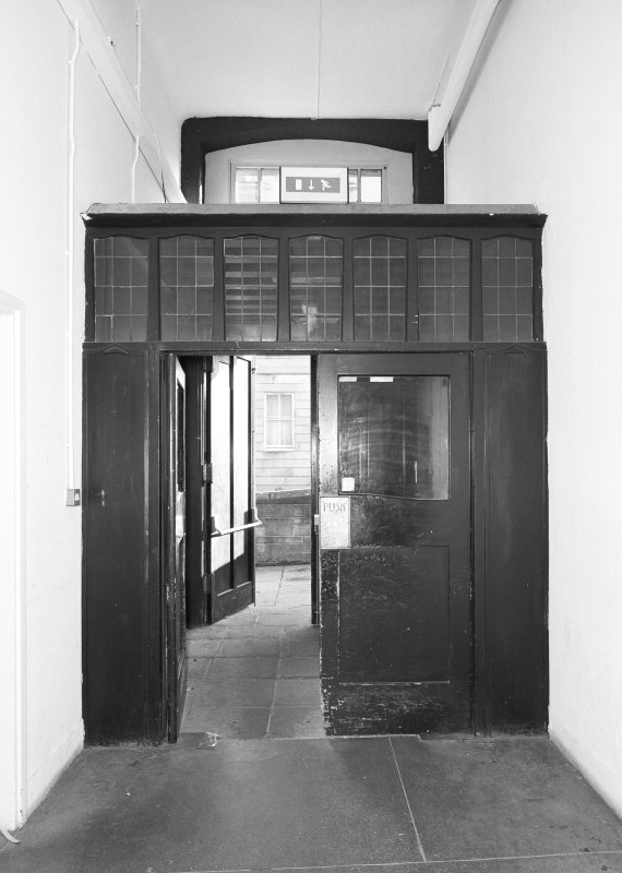 Interior view of Glasgow School of Art showing basement corridor doorway at E end from W.