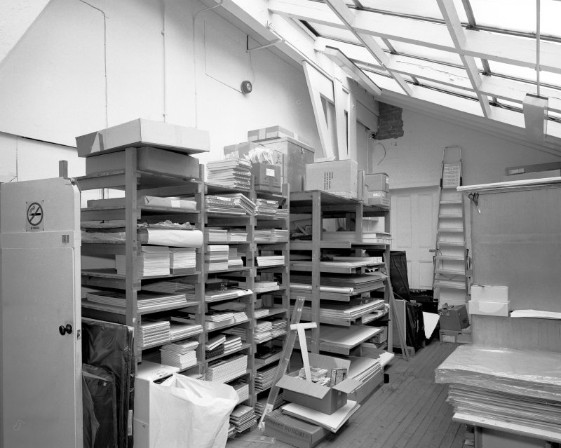 Interior view of Glasgow School of Art showing basement shop store-room from NE.
