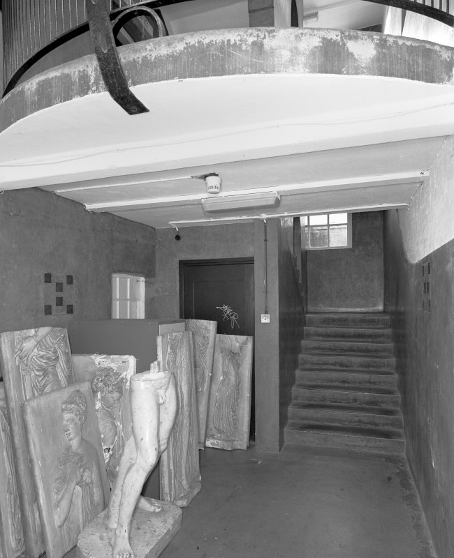 Interior view of Glasgow School of Art showing basement E staircase from N.