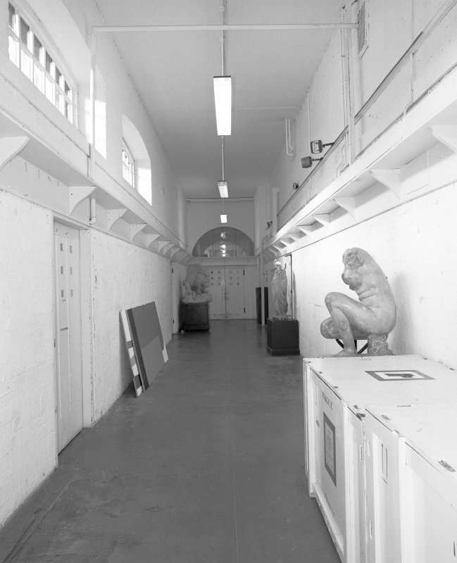 Interior view of Glasgow School of Art showing E corridor in basement from E.